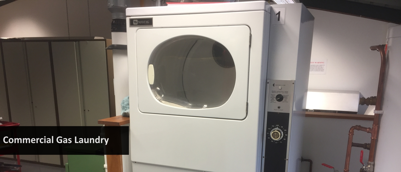 Commercial gas laundry appliances